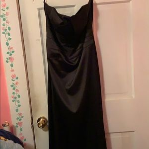 Long, strapless, black gown
